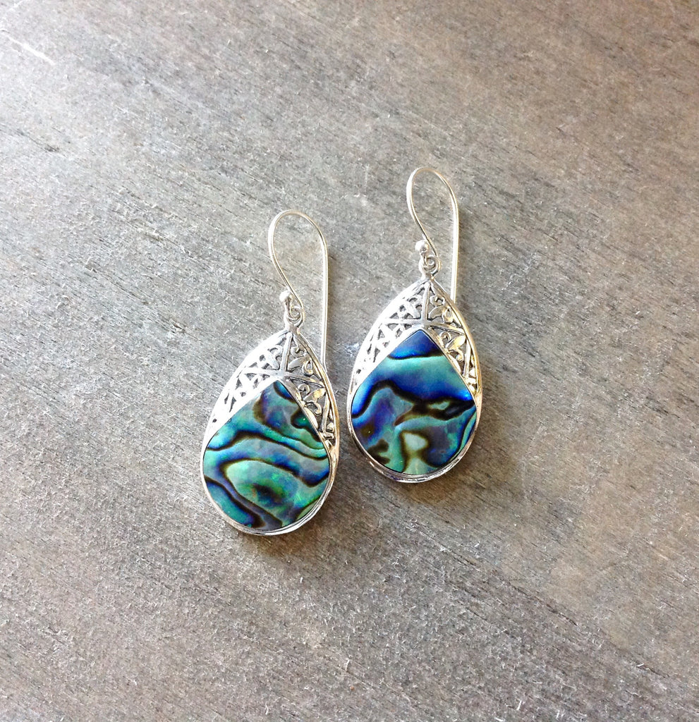 Abalone Drop Filigree Earrings