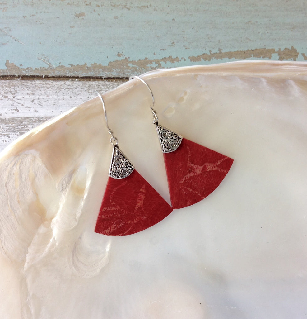 Red Coral Triangle  Earrings