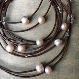 Triple Pearl and Leather Necklace