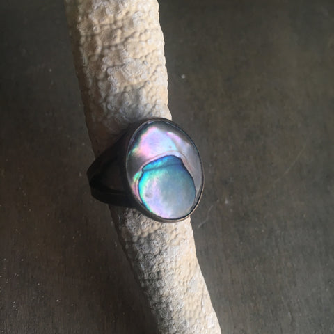 Vintage Abalone Cabochon Ring