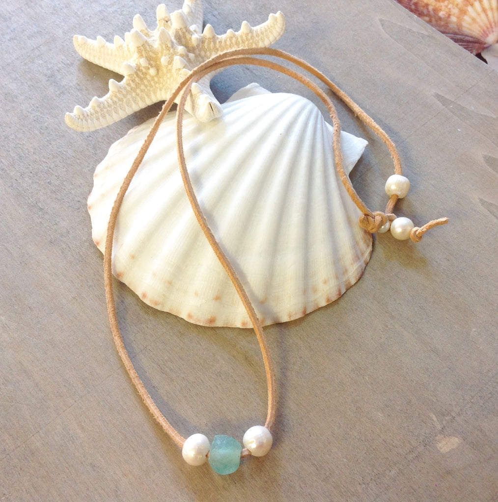Pearls, Seaglass and Leather Necklace