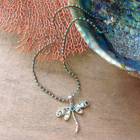Abalone Dragonfly Necklace