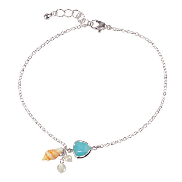 Seashell Howlite Drop Anklet