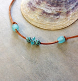 Tres Seaglass & Leather Bracelet