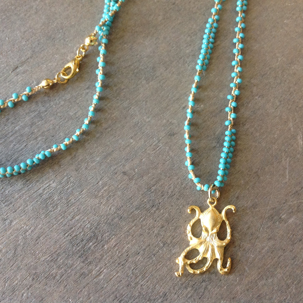 Gold Octopus Pendant Necklace