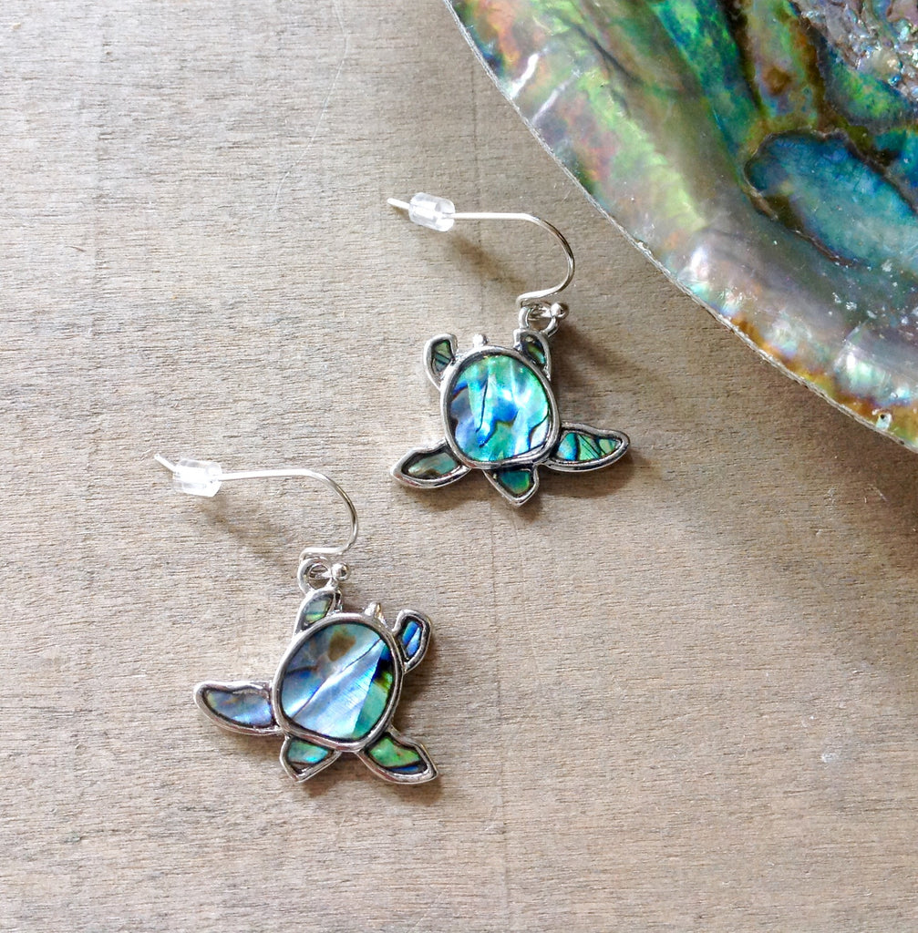 Paua Sea Turtle Earrings