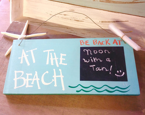 At the Beach 2 sided Chalkboard Sign