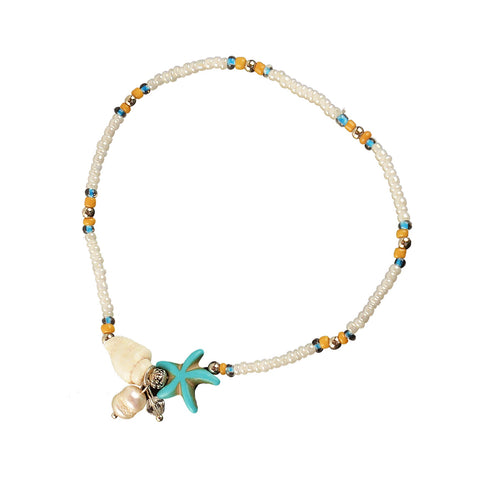 Starfish Howlite Pearl Anklet