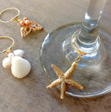 Seashell Christmas Wine Charms
