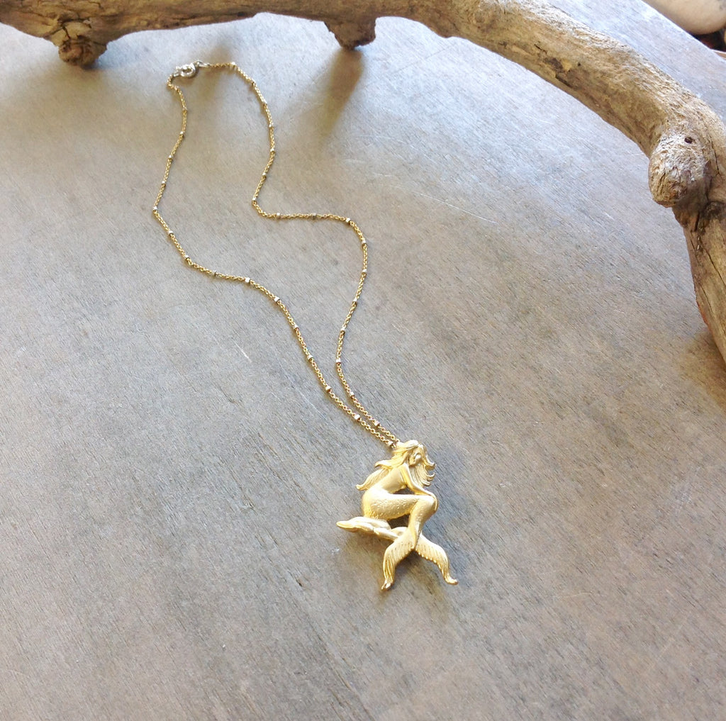 Mermaid Charm Gold Necklace