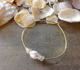 Wire Wrapped Pearl Bangles