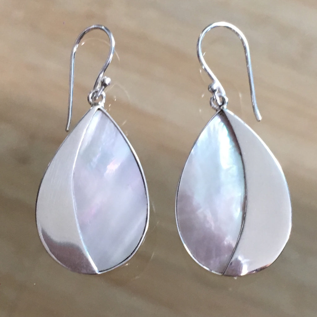 Silver Half MOP Earrings