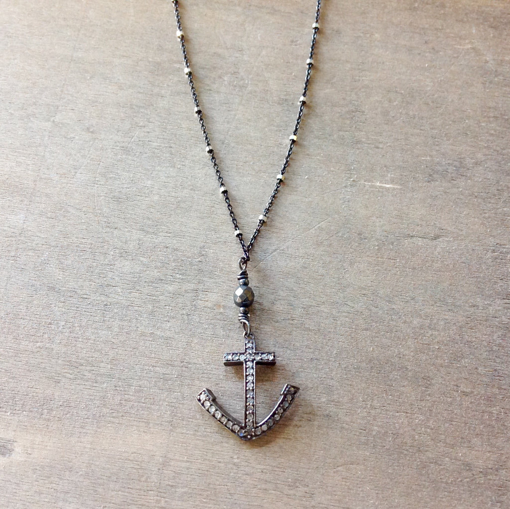 Pave Diamond Anchor Necklace
