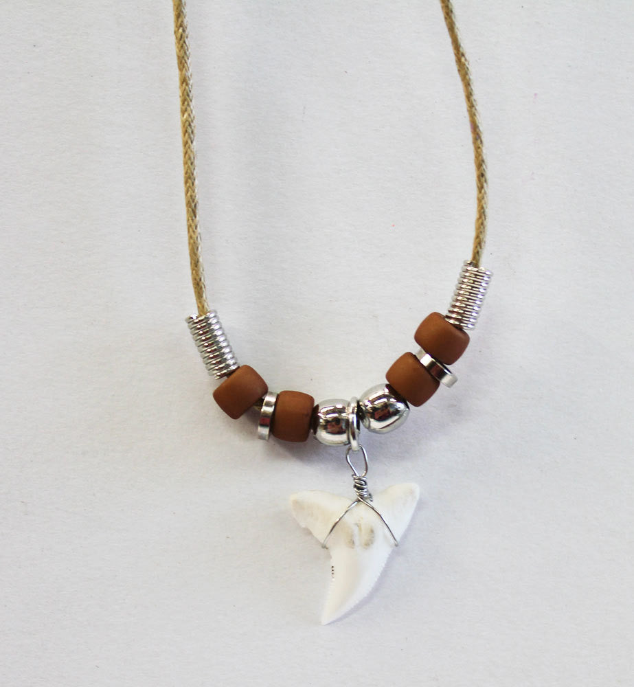 Tan Cord Shark Tooth Necklace
