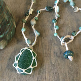 Green Seaglass Turbo Shell Necklace