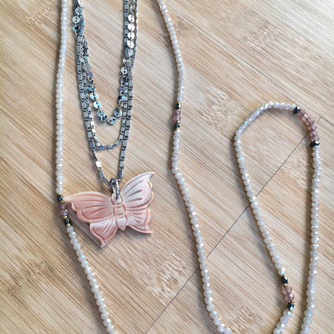 Pink Shell Butterfly Necklace
