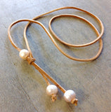 Pearl Leather Lasso Necklace