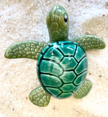 Raku Pottery Green Turtle Box