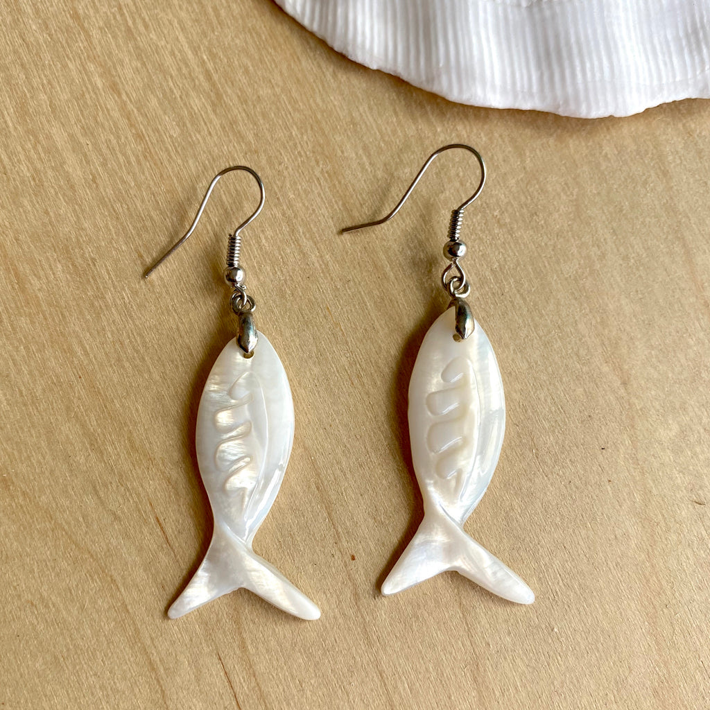 White Shell Fish Earrings