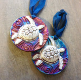 Raku Pottery Medallion Ornaments