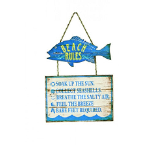 Beach Rules Fish Sign
