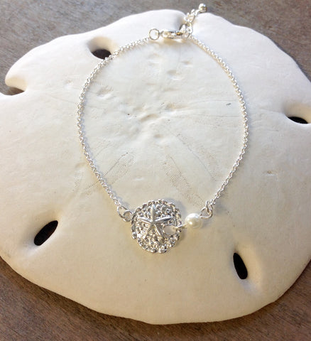 Sand Dollar Pearl Drop Anklet