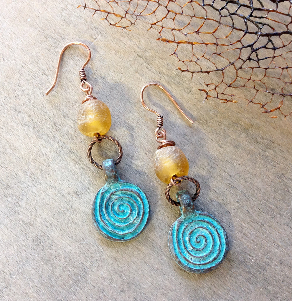 Sea Glass Swirl Earrings