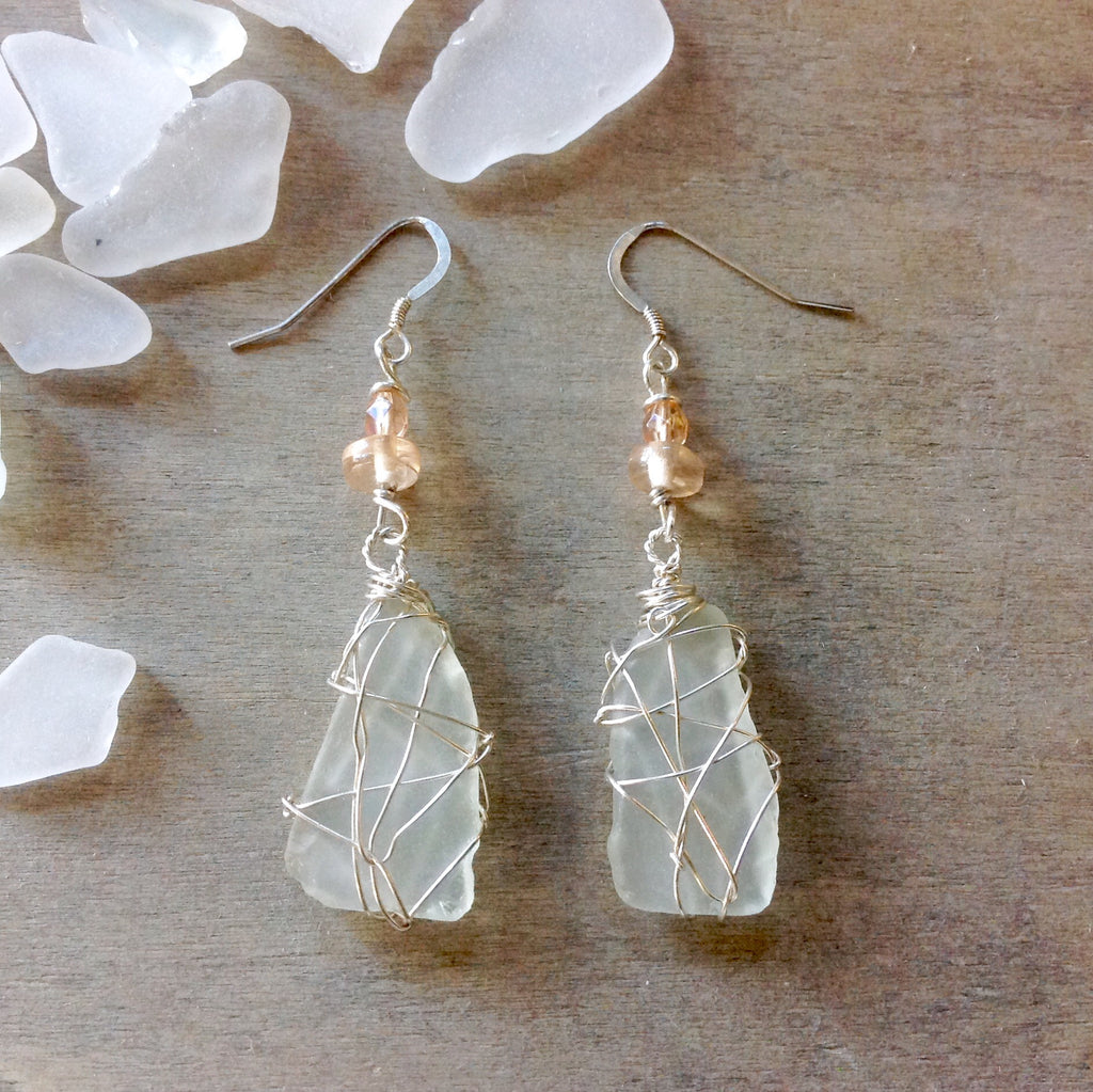 Ice Berg Seaglass Earrings