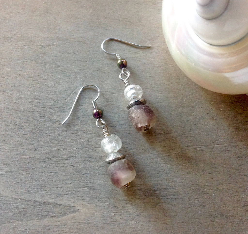 Dusk Sea Glass Earrings