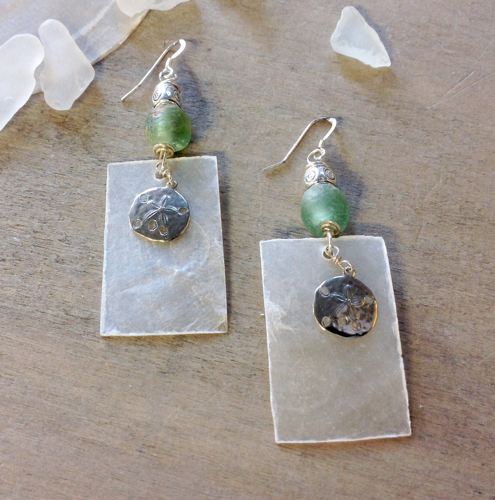 Capiz Shell Recycled Glass Earrings