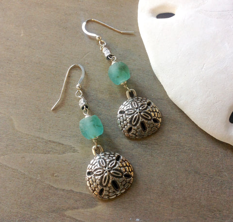 Sand Dollar Sea Glass Earrings