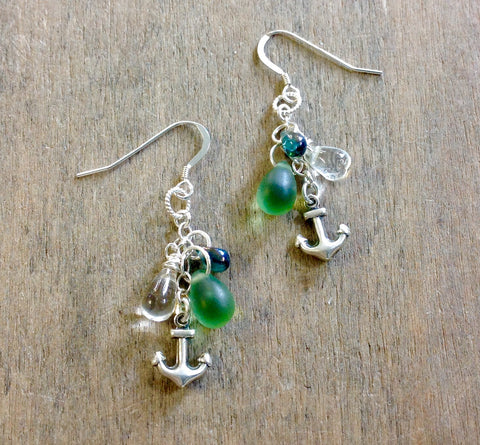 Anchor Water Drop Earrings