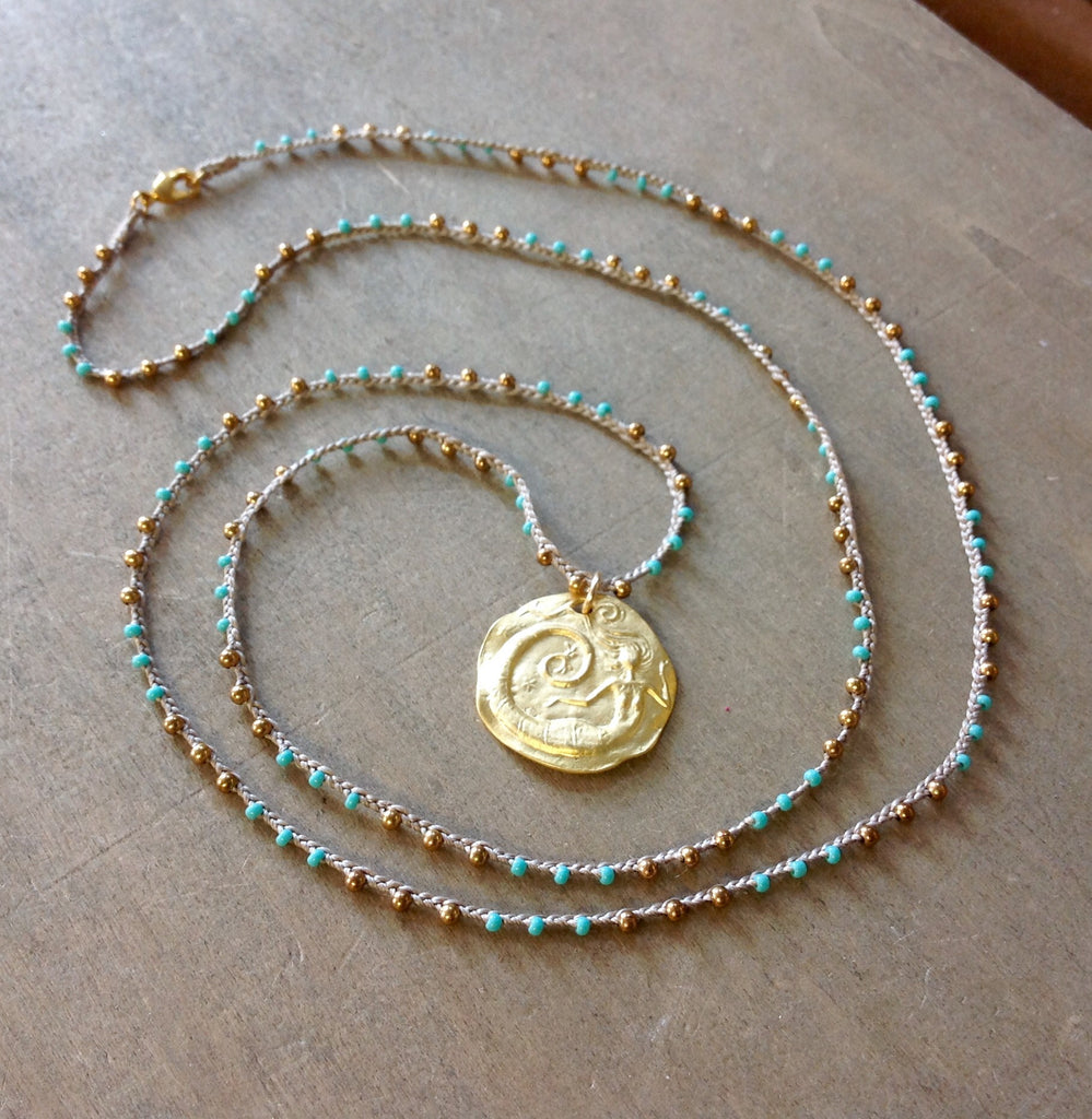 Gold Mermaid Pendant Necklace