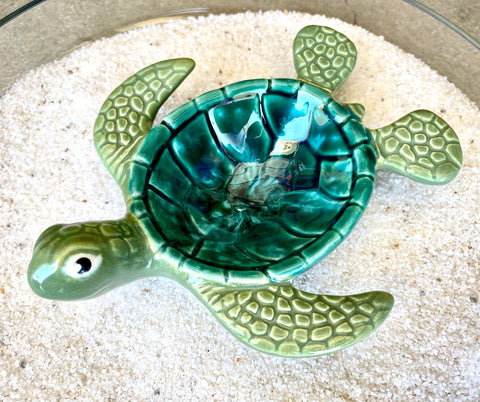Raku Pottery Green Turtle Soap Dish