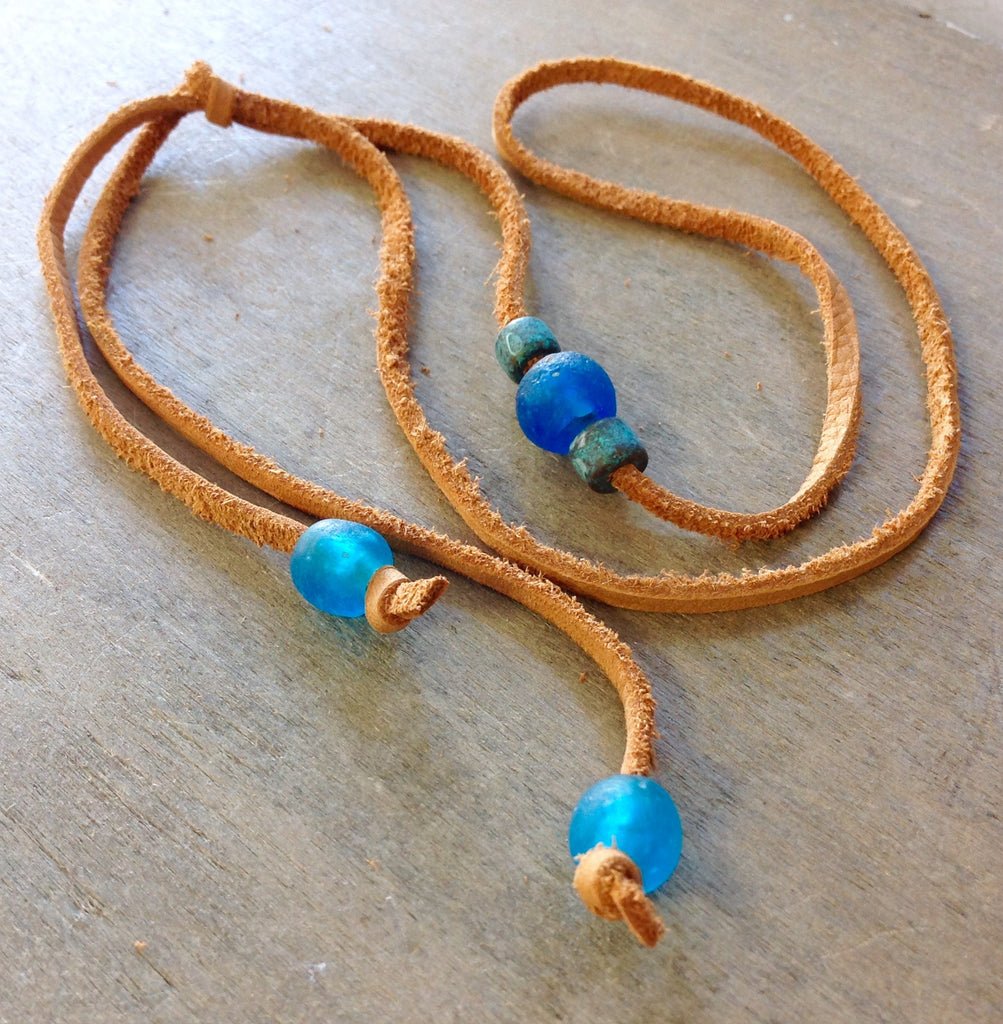 Sea Glass Leather Lasso Necklace