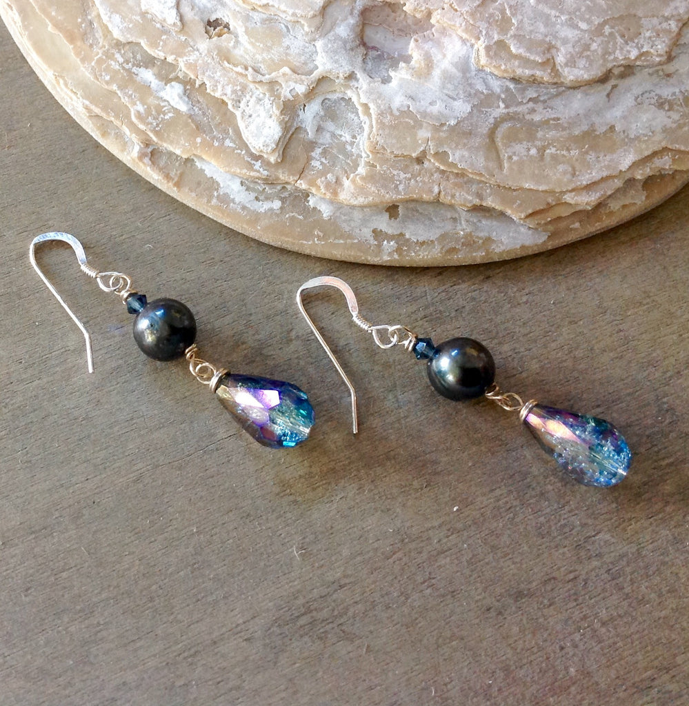 Sterling Deep Sea Pearl Earrings