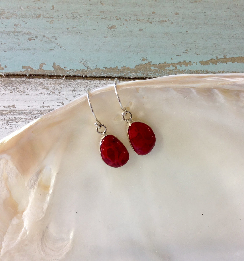 Red Coral Pebble Earrings
