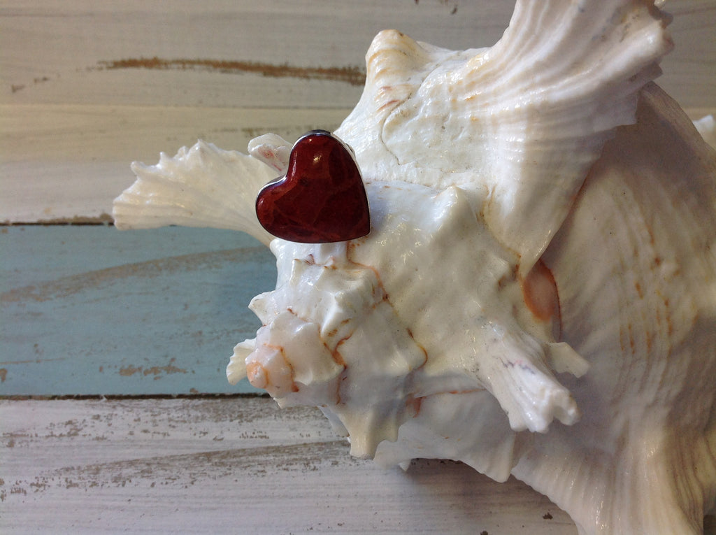 Red Coral Heart Ring