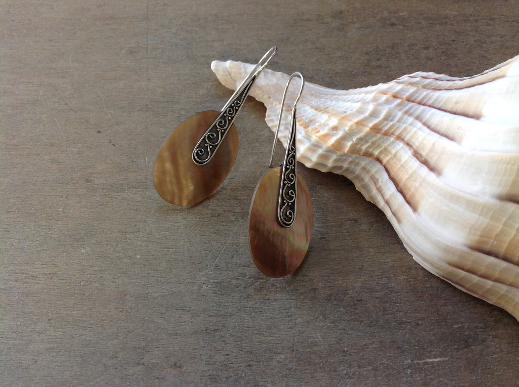 Pearl Brown Shell Hook Earrings
