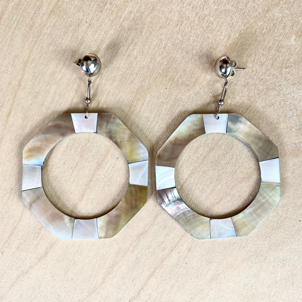 MOP Hoop Stud Earrings