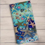Metallic Starfish Tea Towel