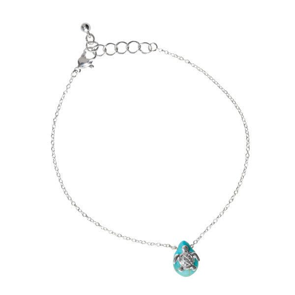 Sea Turtle Howlite Drop Anklet