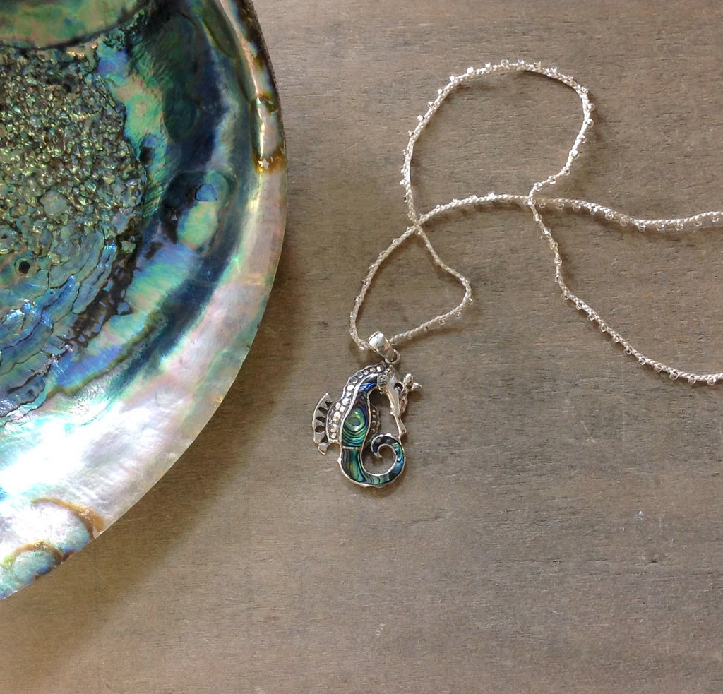 Abalone Seahorse Necklace