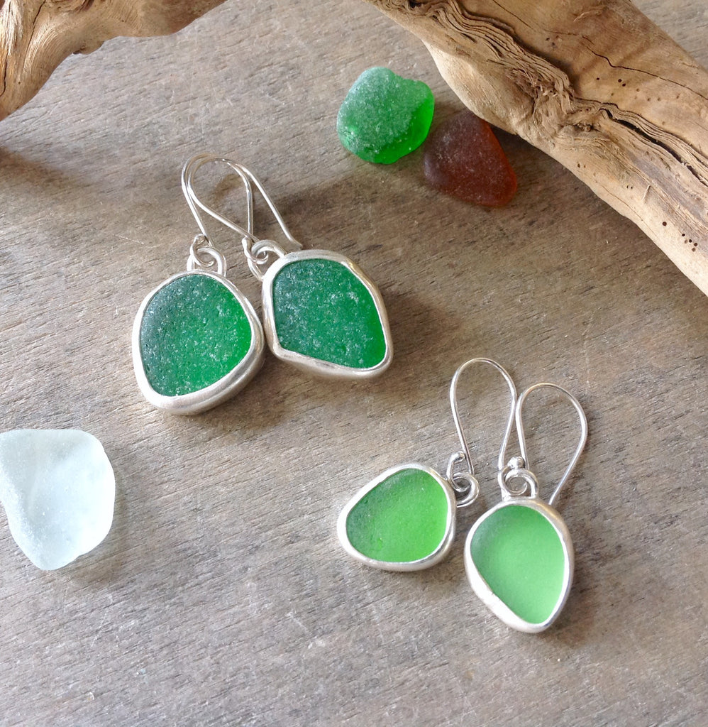 Single Drop Sea Glass Earrings