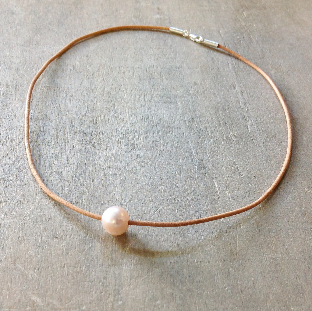 Leather Pearl Chokers
