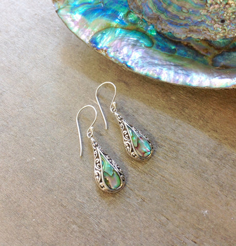 Abalone Filigree Tear Drop Earrings