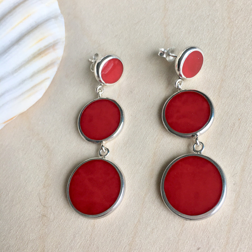 Red Coral Circle Drop Trio Earrings