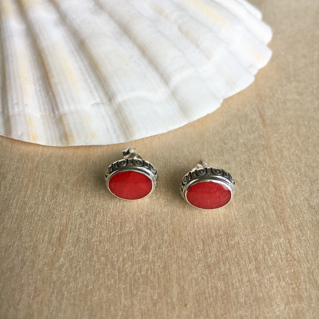 Red Coral Inlay Stud Earrings