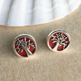 Red Coral Tree Earrings