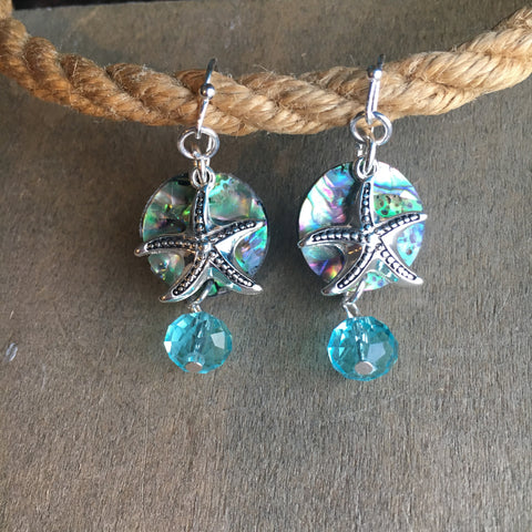 Dangle Abalone Starfish Earrings